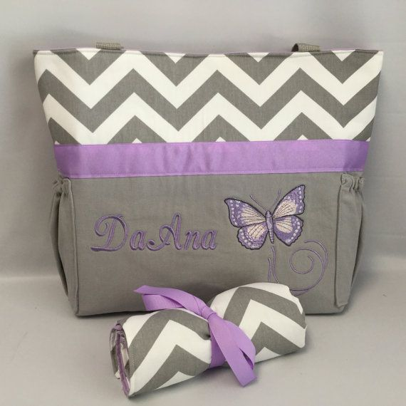 PURPLE Butterfly... Diaper Bag Set ... Gray by TweedleTotes