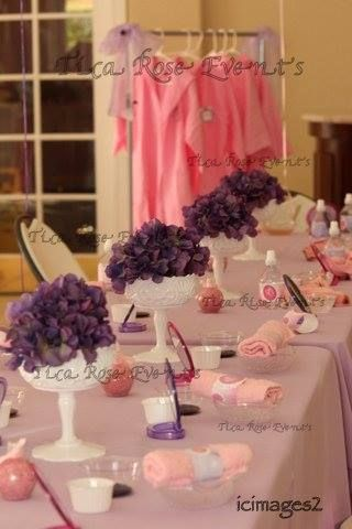 Spa girl theme birthday party table setting