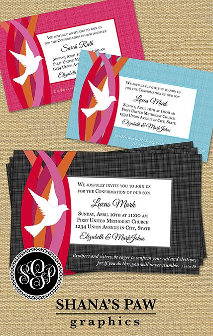 The dove and flames of this ShanasPaw.com Confirmation Invitation design symbolize the gift of the Holy Spirit, and the scriptural message is one of confirmation and affirmation in the body of Christ. Give us your wording and choice of frame color, and we will customize your card template and email it to you ready to print.