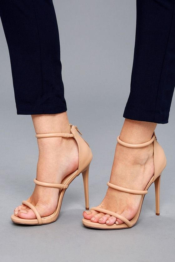 6fcf789ba20 We are totally obsessed with the Amber Nude Ankle Strap Heels! Nude vegan  leather heels have a peep-toe upper and a strappy vamp. Study heel cup has  3