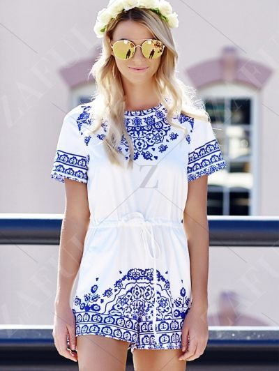 Blue And White Great Wall Print Porcelain Playsuit BLUE: Rompers | ZAFUL
