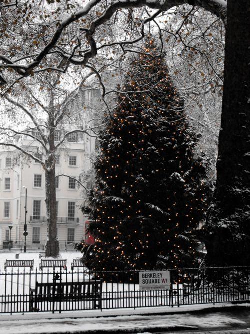 Snowy Berkeley Square, London.
