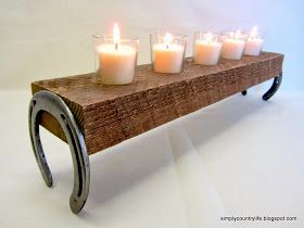 DIY: Horseshoe candle holder ... Would make it so the horseshoes are open up top to hold all the luck inside.