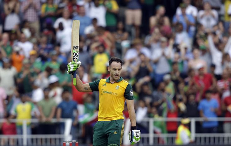 Faf du Plessis celebrates his maiden T20 hundred, South Africa v West Indies, 2nd T20, Johannesburg, January 11, 2015