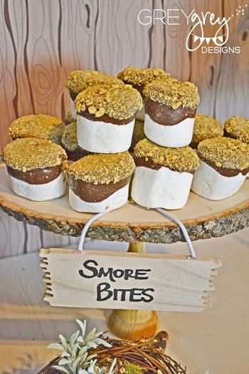 S'more bites: marshmallows dipped in chocolate and graham cracker crumbs. Yum!