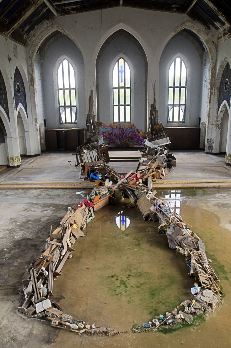 Mysterious installation found inside abandoned church in Dtroit