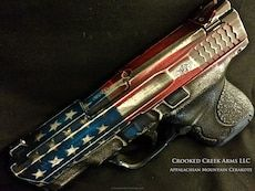 Thumbnail version of the 4th project picture. Graphite Black H-146Q, Smith & Wesson, Distressed, Handgun, American Flag, Battleworn, M&P Shield, Pistol, M&P Shield 9mm, Smith & Wesson M&P, USMC Red H-167Q, Sky Blue H-169Q, Hidden White H-242Q, US flag
