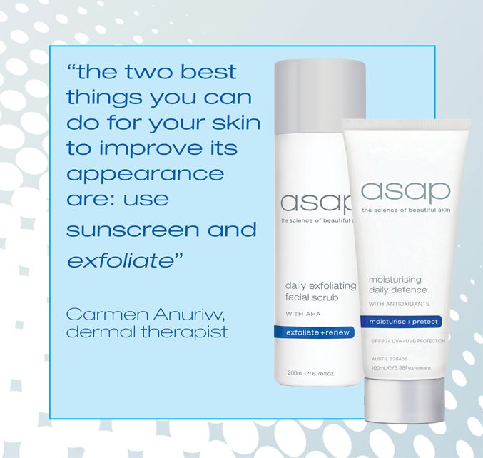 asap skin products listed as a favourite affordable skincare brand of this dermal therapist in the West Australian 'beauty on a budget' article https://au.news.yahoo.com/…/…/a/28683175/beauty-on-a-budget/. We think her skin tip is spot on! asap daily exfoliating facial scrub and moisturising daily defence SPF30 are the perfect skincare solutions for men and women of all skin types.