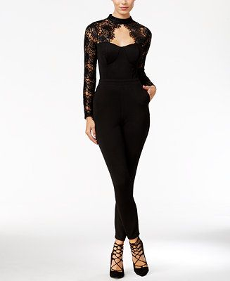 Material Girl Juniors' Lace-Detail Illusion Jumpsuit, Only at Macy's - Juniors Jumpsuits & Rompers - Macy's