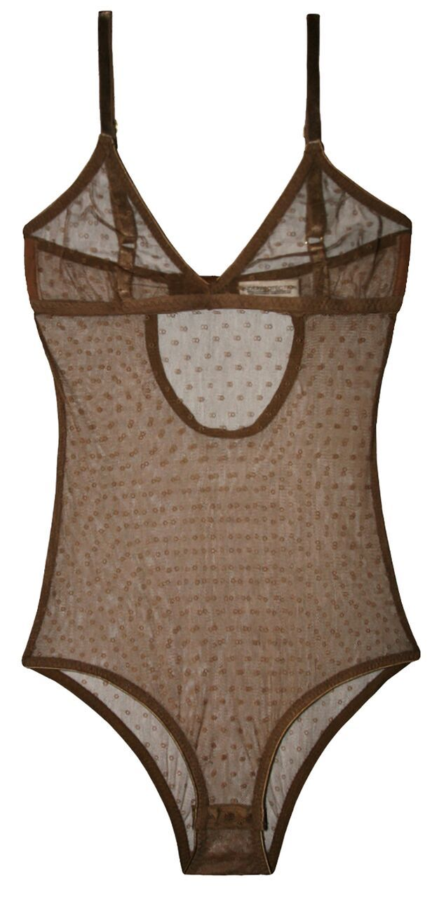 Sheer bodystocking in mesh fabric made from recycled polyester. Available in purple and camel.