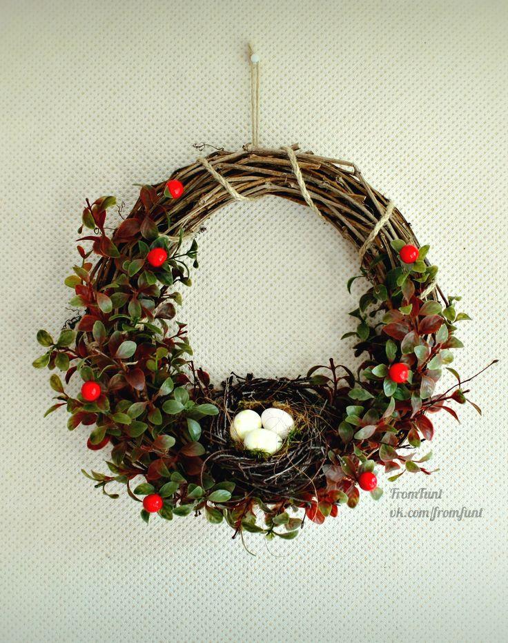 All Year Wreath летний осенний весенний венок на дверь с птичьем гнездом…