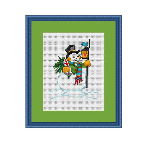 Happy Snowman. Merry Christmas Cross Stitch Pattern. Funny Christmas Cross Stitch. Pattern. Instant Download.