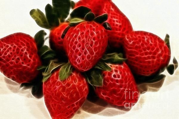 Strawberries Expressive Brushstrokes by Barbara Griffin. A digital painting of a bunch of strawberries with visible brushstrokes that bring out the luminosity of the light on the fruit.