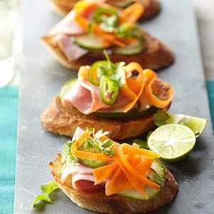 Banh Mi Bruschetta.  This is a fun idea, although I'd swap the ham for turkey or chicken and add pickled daikon.