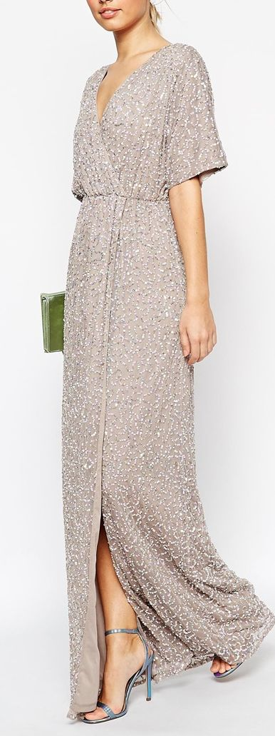 so much fun! wish it were a slightly bolder color. sequined kimono sleeve maxi dress