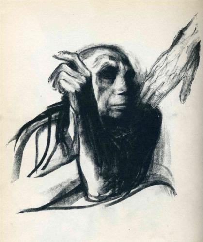 "My favorite artist is Kathe Kollowitz, a print maker.  I first saw this piece years ago.  It is simply titled ""Death Calling""... the only piece of art that has made me cry"