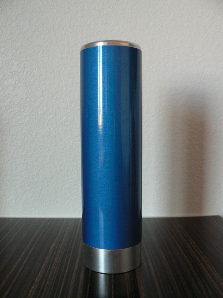 vintage 1950s 1960s Norway Emalox blue vase / mid century modern enameled aluminum vase. $44.99, via Etsy.