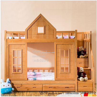 jual ranjang susun anak modern dengan desain unik model rumah dengan pintu pintu terbuka serta terdapat dipan tersembunyi yang bisa di tarik ketika ingin di