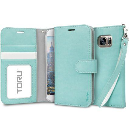 Galaxy S7 Case, TORU [Prestizio Wallet] S7 Wallet Case with [CARD SLOT][ID HOLDER][KICKSTAND][WRIST STRAP] - Premium Wristlet Leather Flip Cover for Samsung Galaxy S 7 - Mint