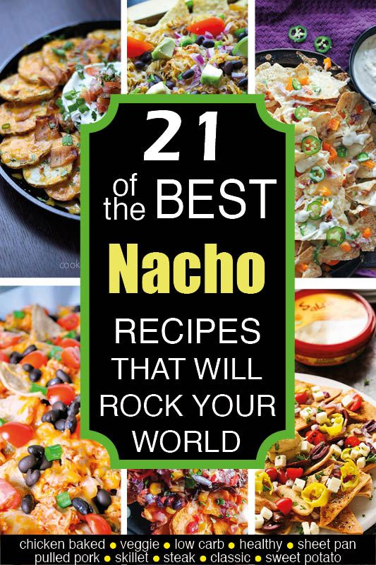 The BEST nacho recipes out there, whether you're into chicken, pulled pork, veggie, steak nachos, low carb nachos, skillet nachos, breakfast nachos or learning how to make nachos with unusual ingredients (like sweet potatoes). We've got you covered - for potlucks, super bowl parties or just a fun evening in. Check out this ultimate list of the most AMAZING and beautiful nachos on the web! #nachos #superbowl #superbowlsnacks #superbowlparty #potluck #tailgating via @deliciouson0235