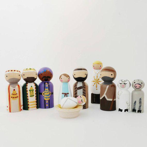 Peg Doll Nativity Set // Christmas Pegs // Wooden Nativity set