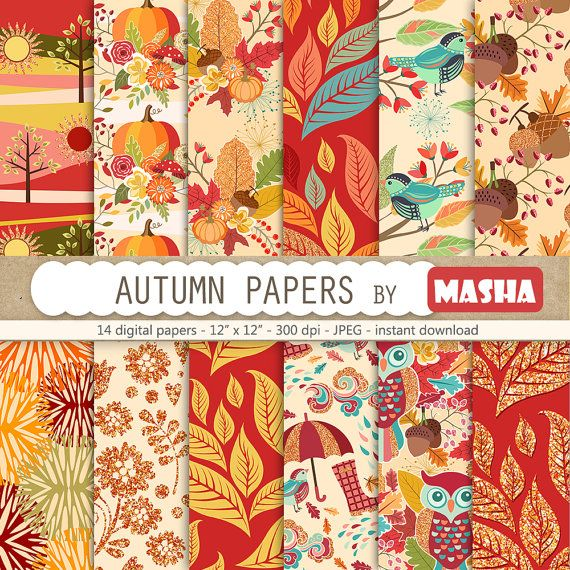 Fall digital papers:  AUTUMN DIGITAL PAPERS with by MashaStudio #autumn #digital #paper #fall #patterns #leaves #pattern #leaf #patterns #umbrella #acorn #images #tree #clouds #rain #forest #birds #scrapbooking