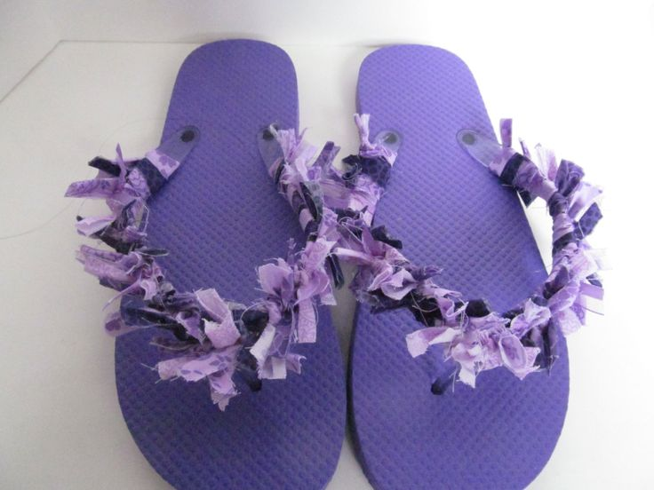 Purple fabric flip flops fabric sandals beach flip flops rag flip flops purple sandals by BoutiqueByTheresa on Etsy