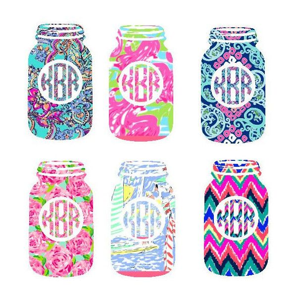 Lilly Pulitzer Inspired Mason Jar Decal/Monogram ❤ liked on Polyvore featuring home and kitchen & dining