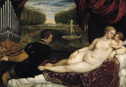 """""""Venus recreándose con el Amor y la Música"""", Tiziano, hacia 1555"""