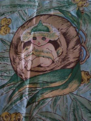 Rare Vintage MAY GIBBS GUMNUT BABIES Fabric (21cm x 25cm) #3