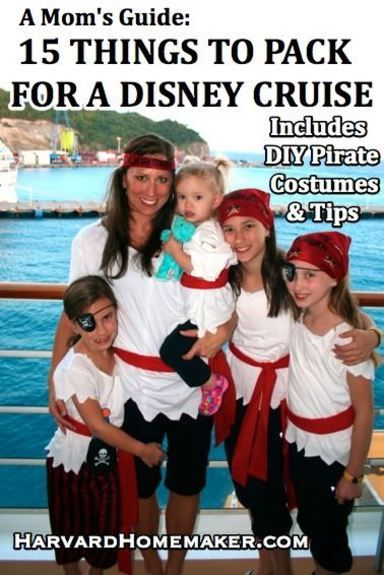 A Mom's Guide - 15 Things to Pack for a Disney Cruise. Includes a list of handy items you may not think to bring, easy DIY costumes for Pirate Night, details about the nursery and kids' club, dining on the ship, and other family travel tips!  Pin now for future reference!