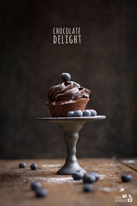 chocOlate cupcake with blueberries