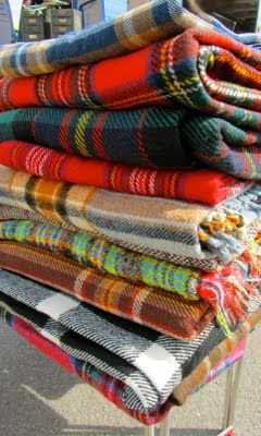 Wonderful selection of vintage plaid throws.