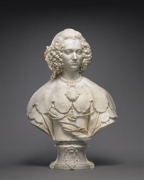 Bust of Maria Cerri Capranica; Attributed to Alessandro Algardi (Italian, 1598 - 1654); Italy; about 1640; Marble.