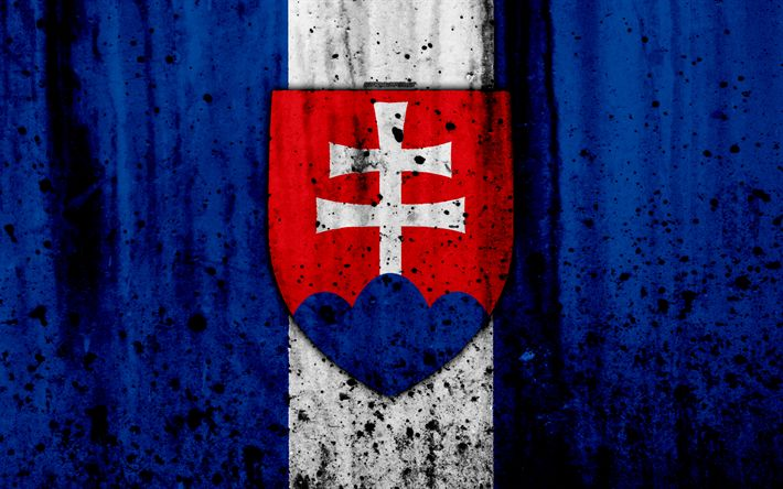 Download wallpapers Slovakia national football team, 4k, logo, grunge, Europe, football, stone texture, soccer, Kazakhstan, Slovakia national teams