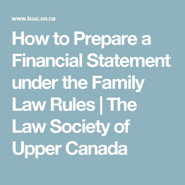 How to Prepare a Financial Statement under the Family Law Rules | The Law Society of Upper Canada