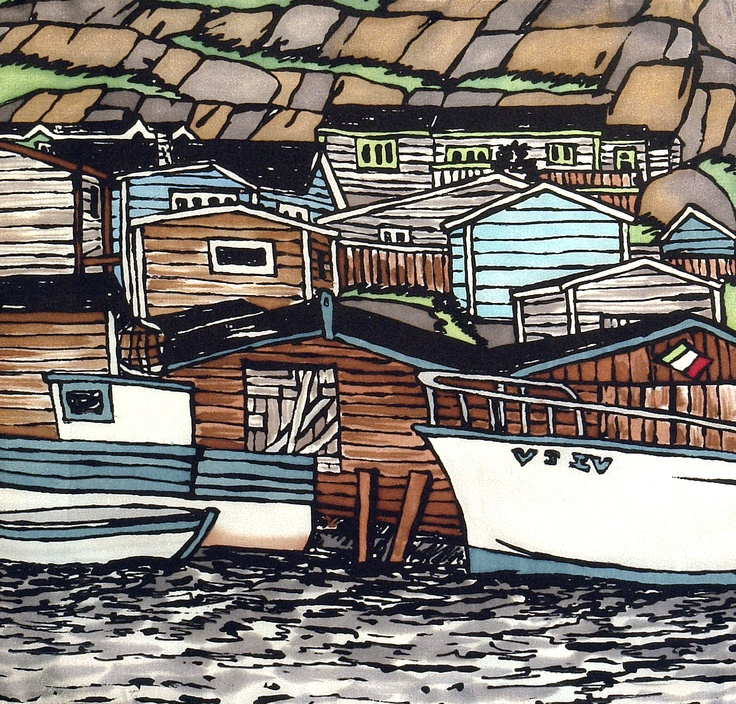 Silk Painting of Petty Harbour, Nfld by k Munro