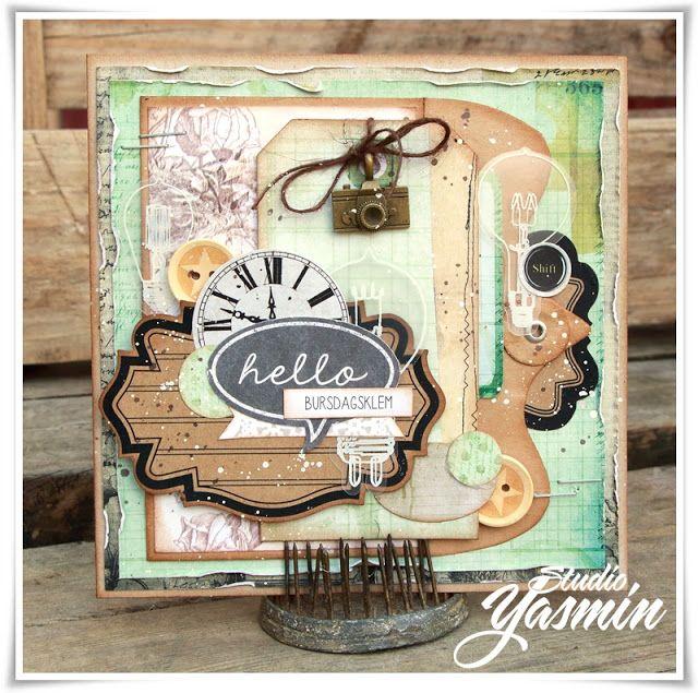 Studio Yasmin - Masculine card made with Maya Road embellishements and 7dots Studio papers :)