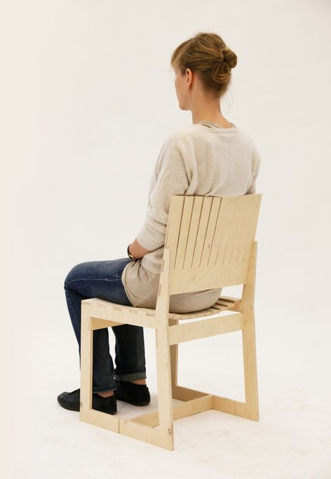 C-chair, Wiktoria Szawiel /  C-chair is a chair made of plywood – its shape comes from studies on the ergonomic and durability qualities of this material. Instead of adding upholstery or cushions, the back and the seat are cut in a way that maximises seating comfort. The back and seat bend under the weight of the user, adjusting to the shape of the body. That is why when sitting in that chair you get the impression of a flexible and soft support