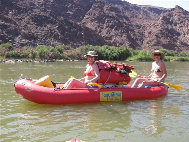 Esna and Lize on day 2 of their river rafting adventure with Aquatrails www.dirtyboots.co.za @esnatheron #dirtyboots #orangeriver #southafrica