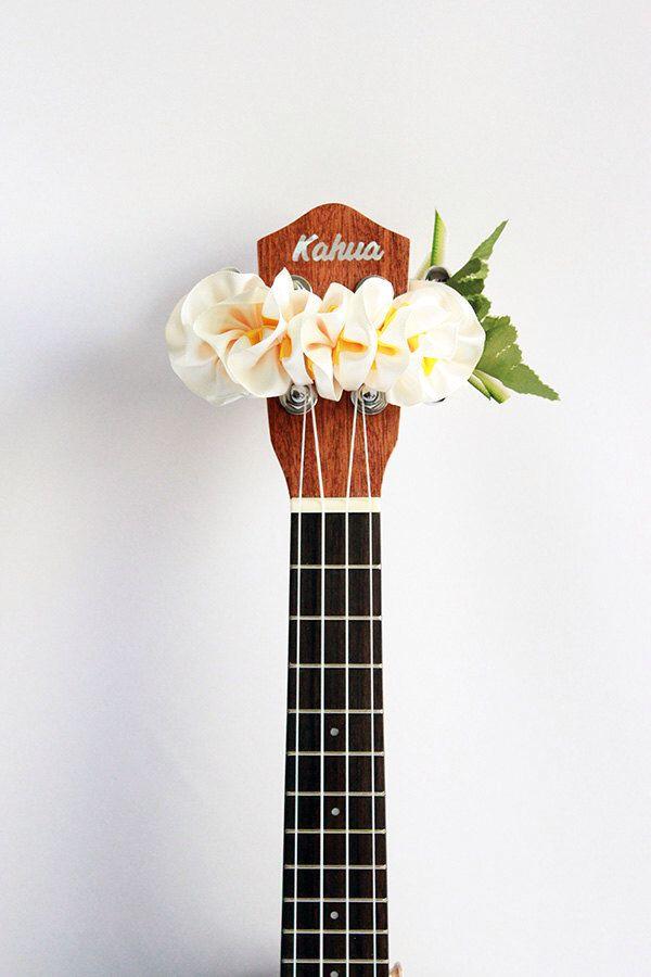 ribbon lei for ukulele / W plumeria / ukulele accessories / ukulele decor / mandolin / banjo / hawaiian lei / satin ribbon / flower ribbon by ukuhappy on Etsy https://www.etsy.com/listing/230735431/ribbon-lei-for-ukulele-w-plumeria