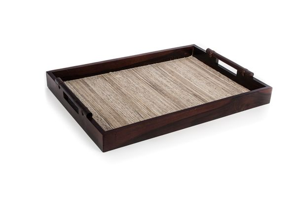 Casa Uno Water Hyacinth WooDen Tray with Mat Natural/Brown Dinnerware - New