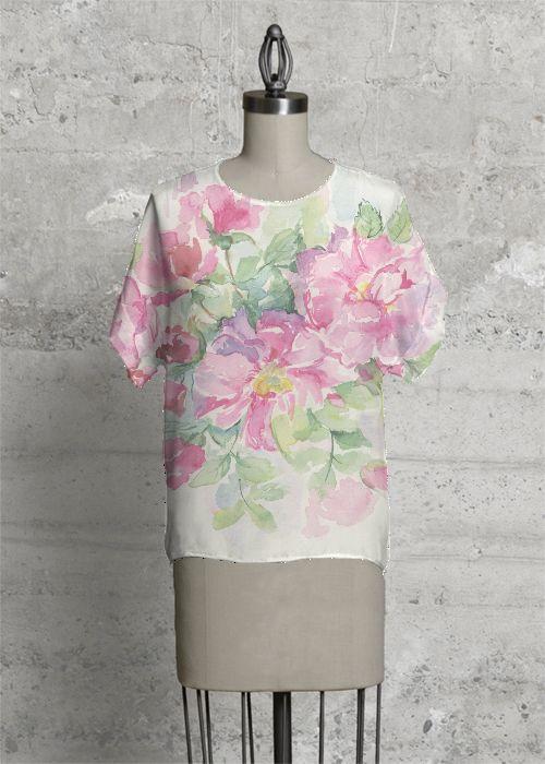 Roses. Modern tee 100% Silk.