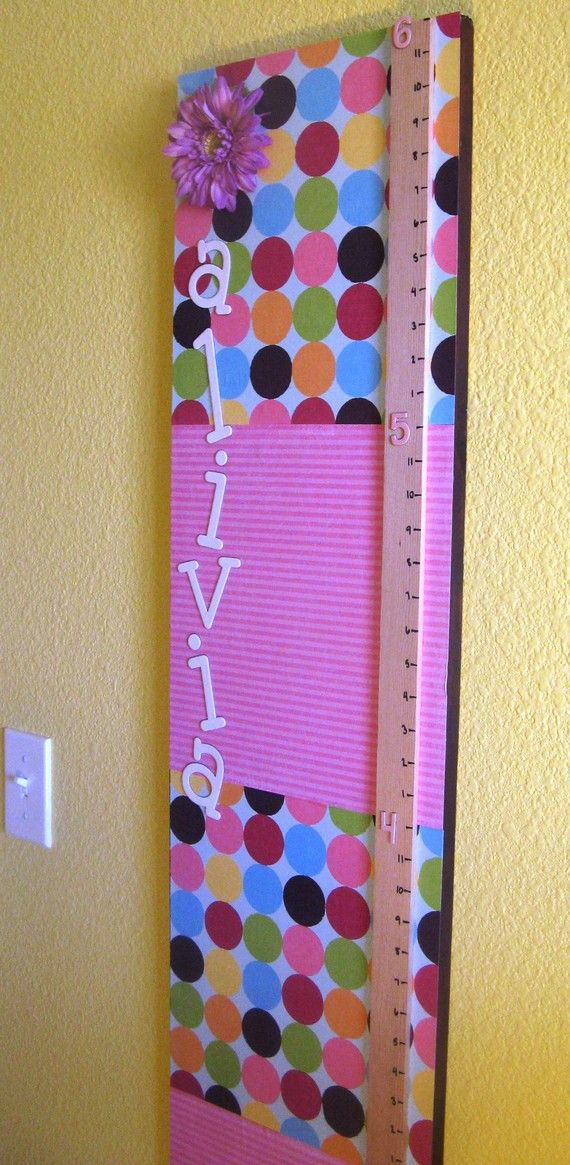 This could be a great craft project to make with Little Miss.  A few pieces of fabric, some cute letters, embelishments, and a strip of wood - yardstick width.