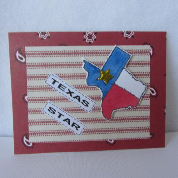 One single small handmade card.  Texas star card.  A2 envelope