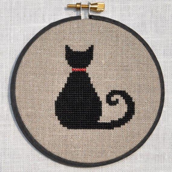Cute Black Cat Cross Stitch Pattern, PDF