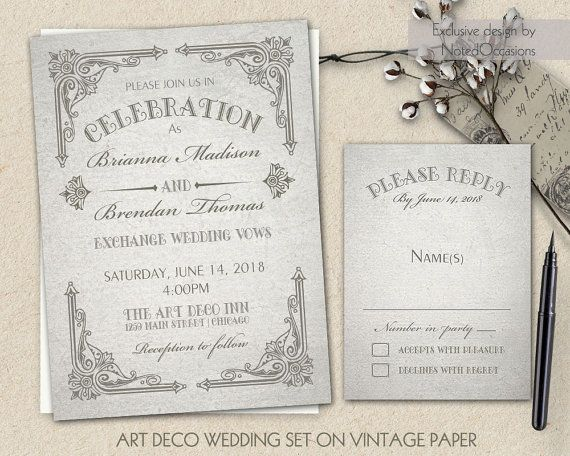 Art Deco Wedding Invitation set which is art nouveau at its finest. Inspired by an authentic Art Deco era, these great gatsby roaring 20's wedding invitations will add the perfect amount of glamor to your upcoming wedding.