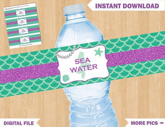 Mermaid Water Bottle Labels Mermaid Birthday Party Printables-Digital File Instant Download