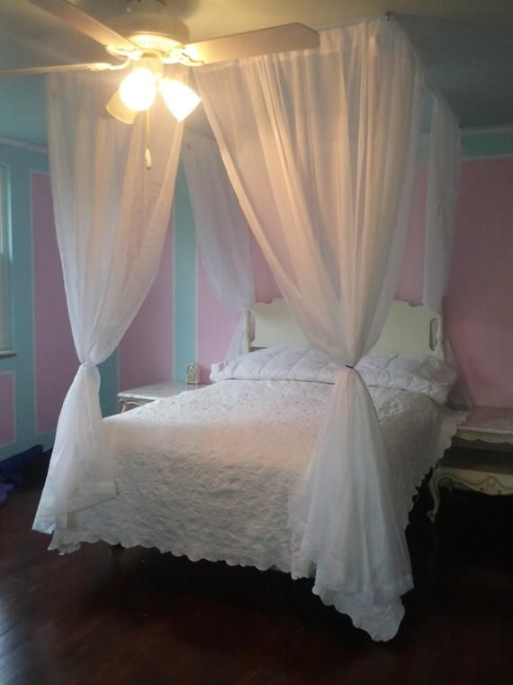 Diy Bed Canopy Kit Custom Shabby Ceiling Suspended Hanging Etsy Canopy Bed Diy White Bed Canopy Bed Drapes