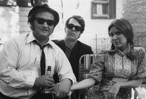 "John Belushi, Dan Aykroyd and Carrie Fisher on the set of ""The Blues Brothers"" Dir. J. Landis 1980"